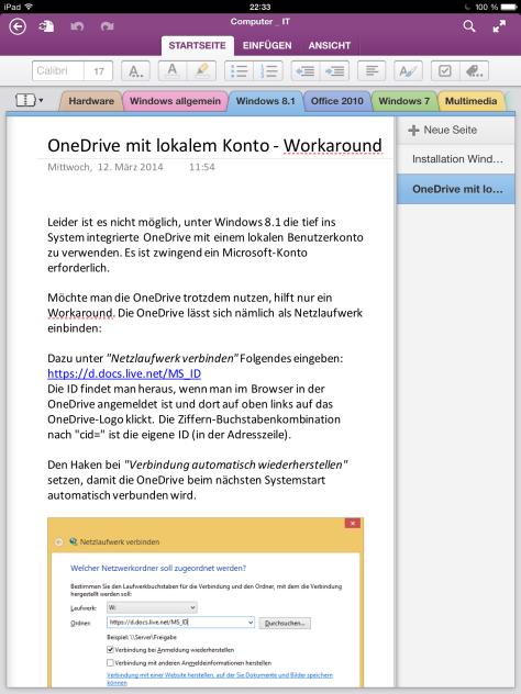 OneNote auf dem iPad